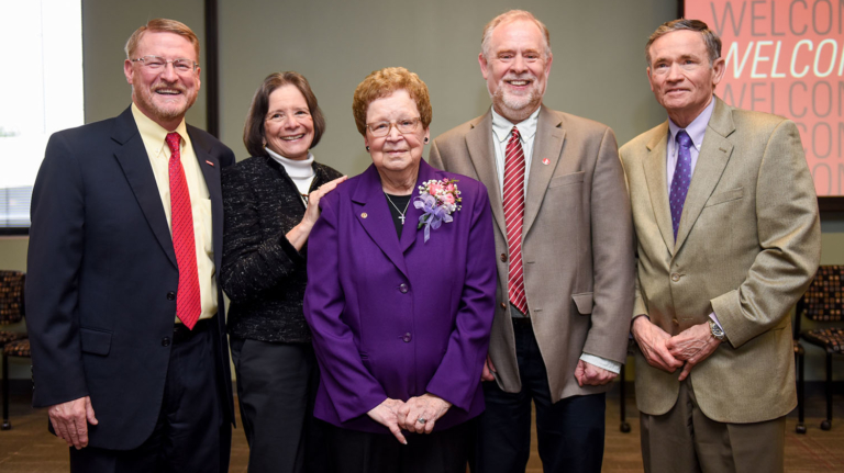 Peggy Olive with former and current deans